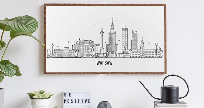 Plakat z panoramą miasta