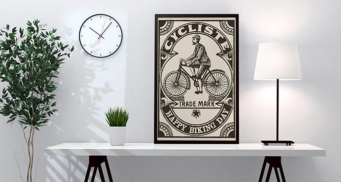 Plakat z rowerzystą w stylu vintage