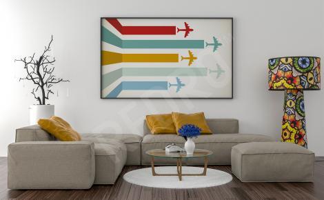 Plakat z samolotami retro