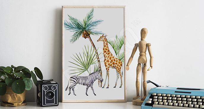 Plakat z zebrą i żyrafą