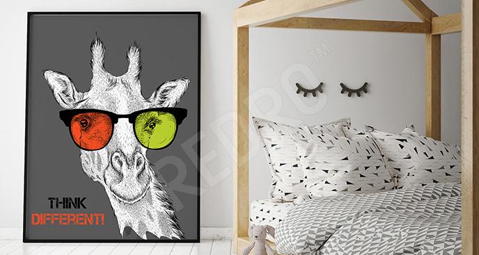 Plakat z żyrafą i napisami
