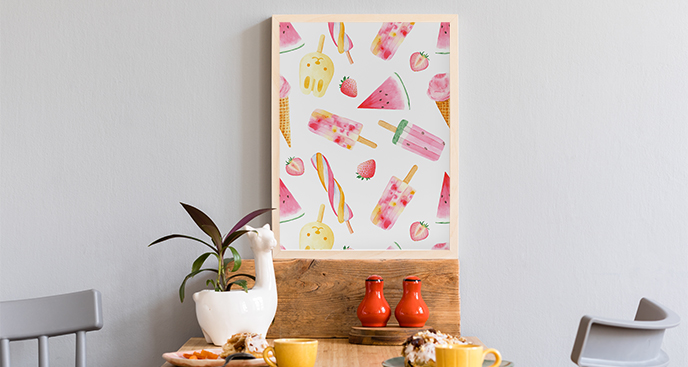 Plakat ze słodkościami do jadalni