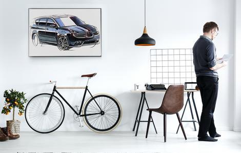 Plakat ze szkicem samochodu do biura architektonicznego