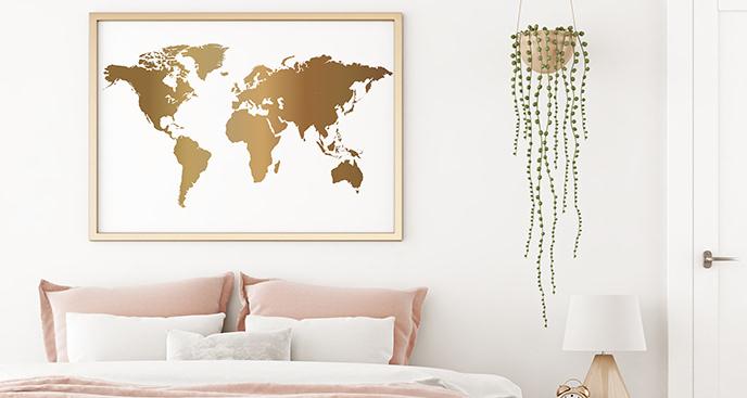 Plakat ze złotą mapą