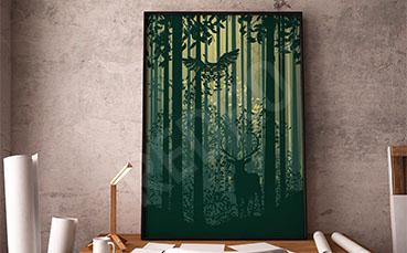Plakat zielony las