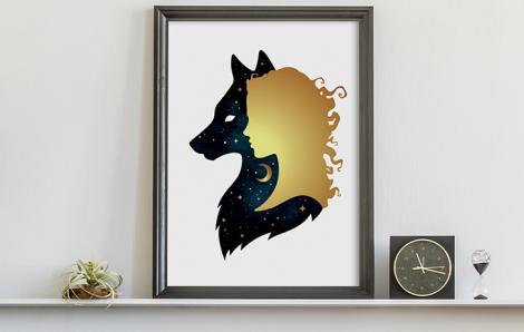 Plakat złota kobieta i wilk
