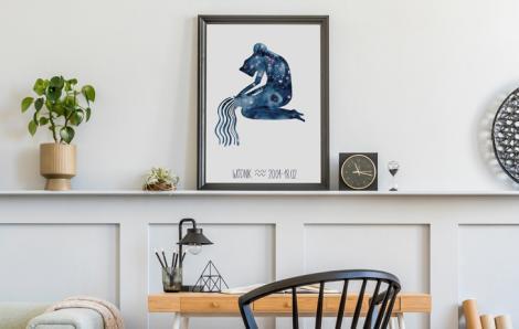 Plakat znak zodiaku - wodnik
