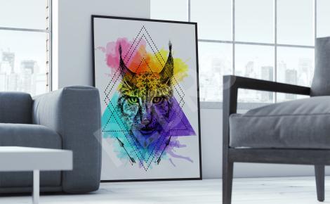 Plakat zwierzę i motyw geometryczny
