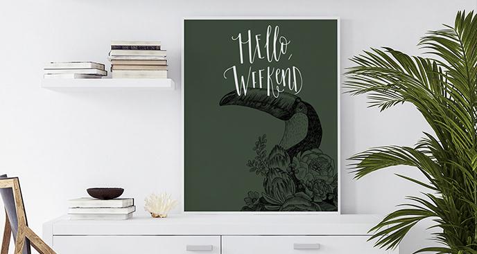 Plakat zwierzę i napis