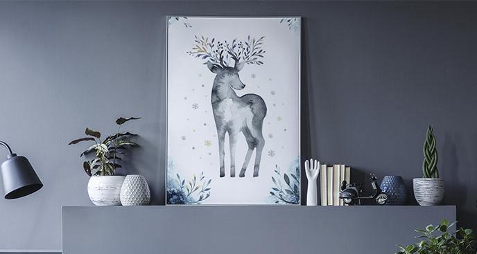 Plakat zwierzę w stylu scandi
