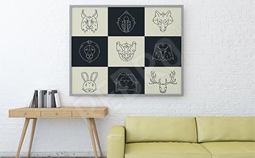 Plakat zwierzęta czarno-białe