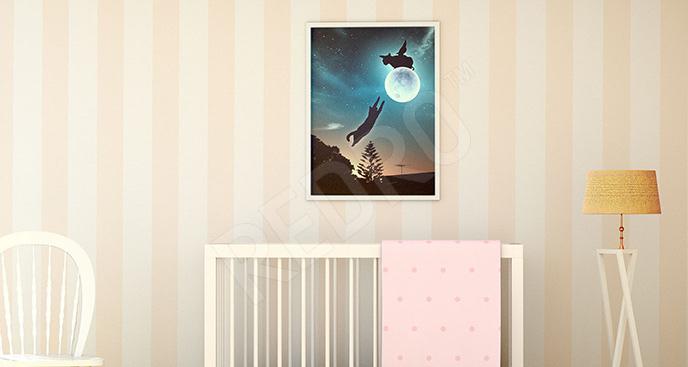 Plakat zwierzęta na nocnym niebie