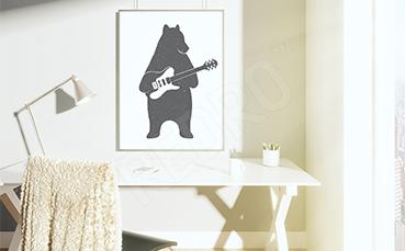 Plakat zwierzęta niedźwiedź z gitarą