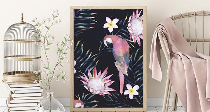 Plakat zwierzęta tropikalne