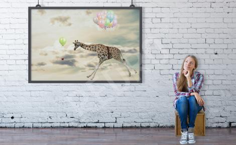 Plakat żyrafa i balony