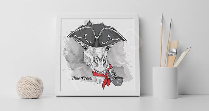 Plakat żyrafa-marynarz