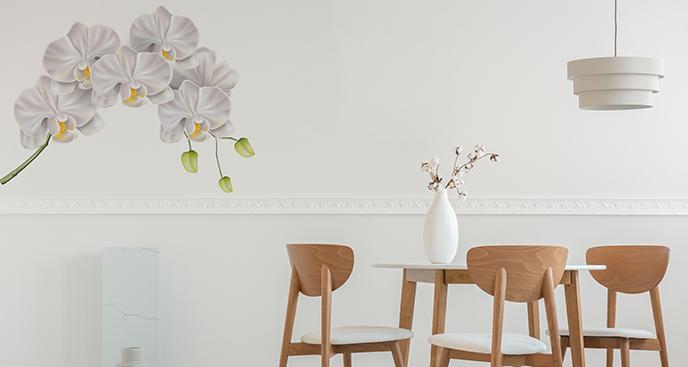 Realistyczna naklejka z białą orchideą