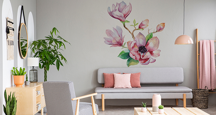 Różowa naklejka dekoracyjna