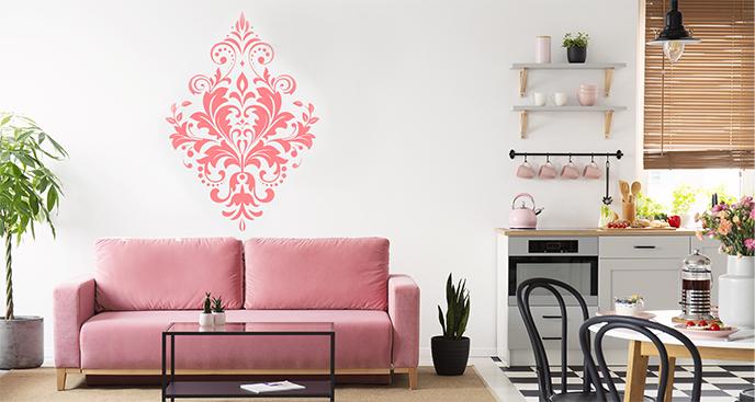 Różowa naklejka ornament