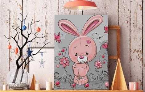 Różowy obraz do pokoju dziecka