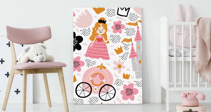 Różowy obraz do pokoju księżniczki