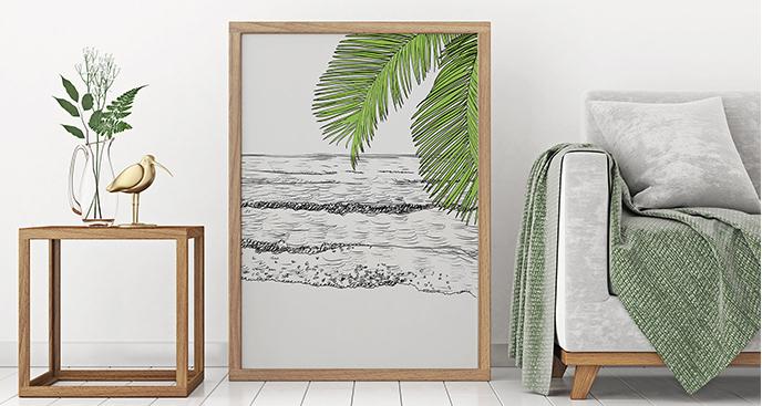 Rysunkowy plakat z morzem