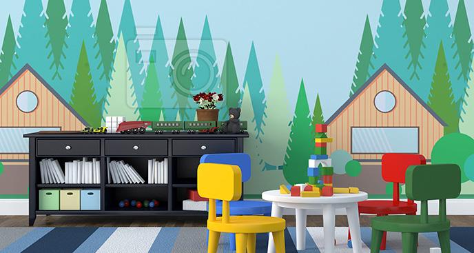 Tapeta chatka w lesie