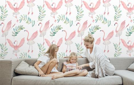 Tapeta do salonu z flamingami