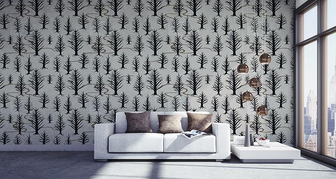 Tapeta drzewa czarno-białe