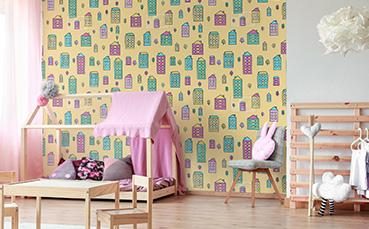 Tapeta kolorowe domki dla dzieci