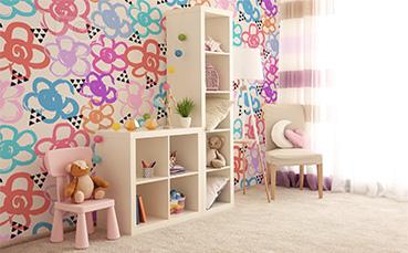 Tapeta kolorowe kwiatki dla dzieci