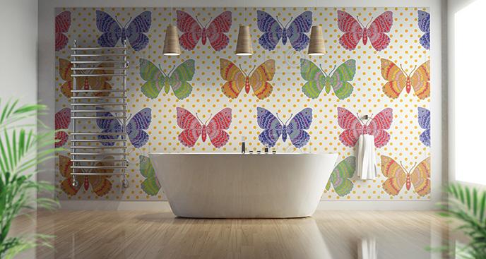 Tapeta kolorowe motyle do łazienki