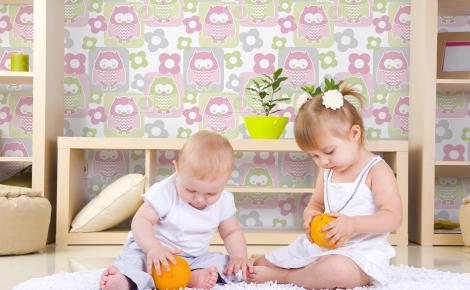 Tapeta kolorowe sówki dla dzieci