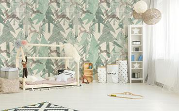 Tapeta krajobraz leśny do pokoju dziecka