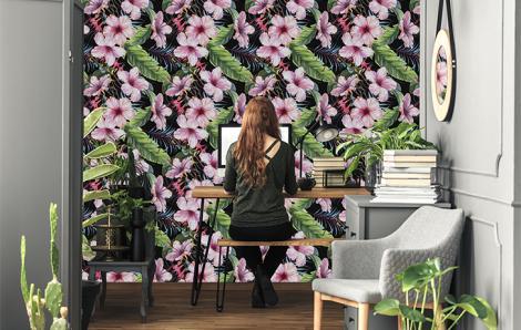 Tapeta kwiaty w egzotycznym stylu