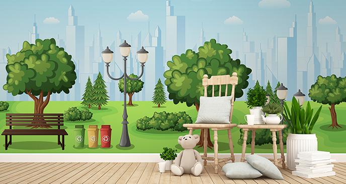 Tapeta latarnia w zielonym parku