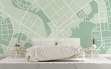 Tapeta mapa miasta do sypialni