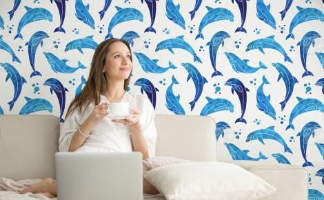 Tapeta niebieskie delfiny