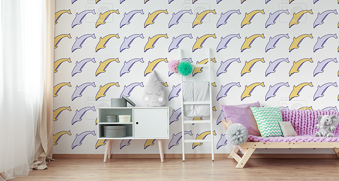 Tapeta pastelowe delfiny
