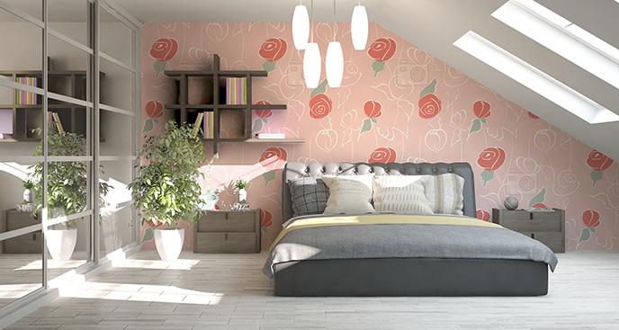 Tapeta pastelowe róże do sypialni