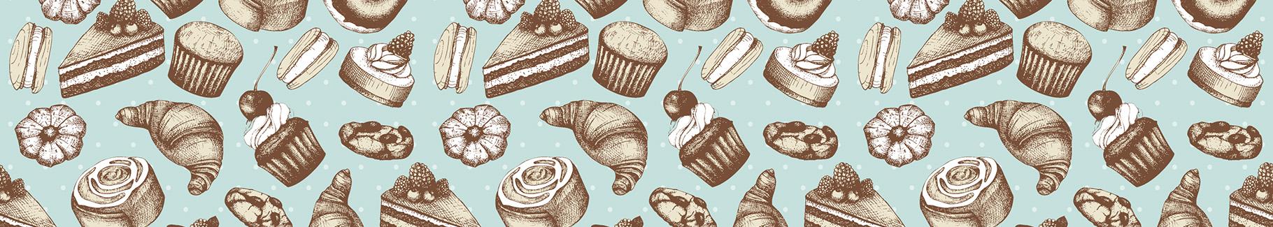 Tapeta retro słodycze do cukierni