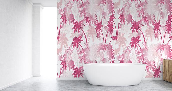 Tapeta różowe palmy do łazienki
