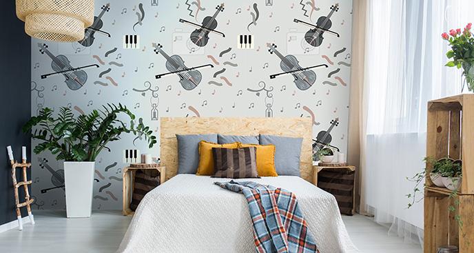 Tapeta skrzypce do sypialni