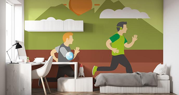 Tapeta sprinterzy - do pokoju dziecka