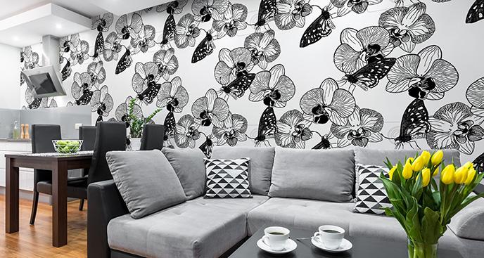 Tapeta storczyki i motyle