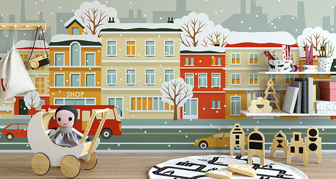 Tapeta ulica zimą