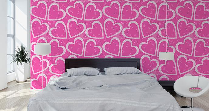 Tapeta wzór serduszek do sypialni