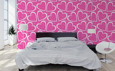 Tapeta wzór serduszek - do sypialni