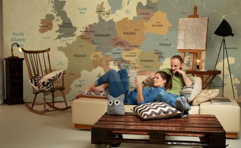 Tapeta z mapą Europy retro