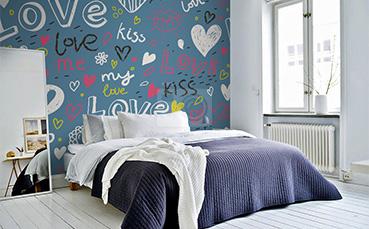 Tapeta z napisami do sypialni